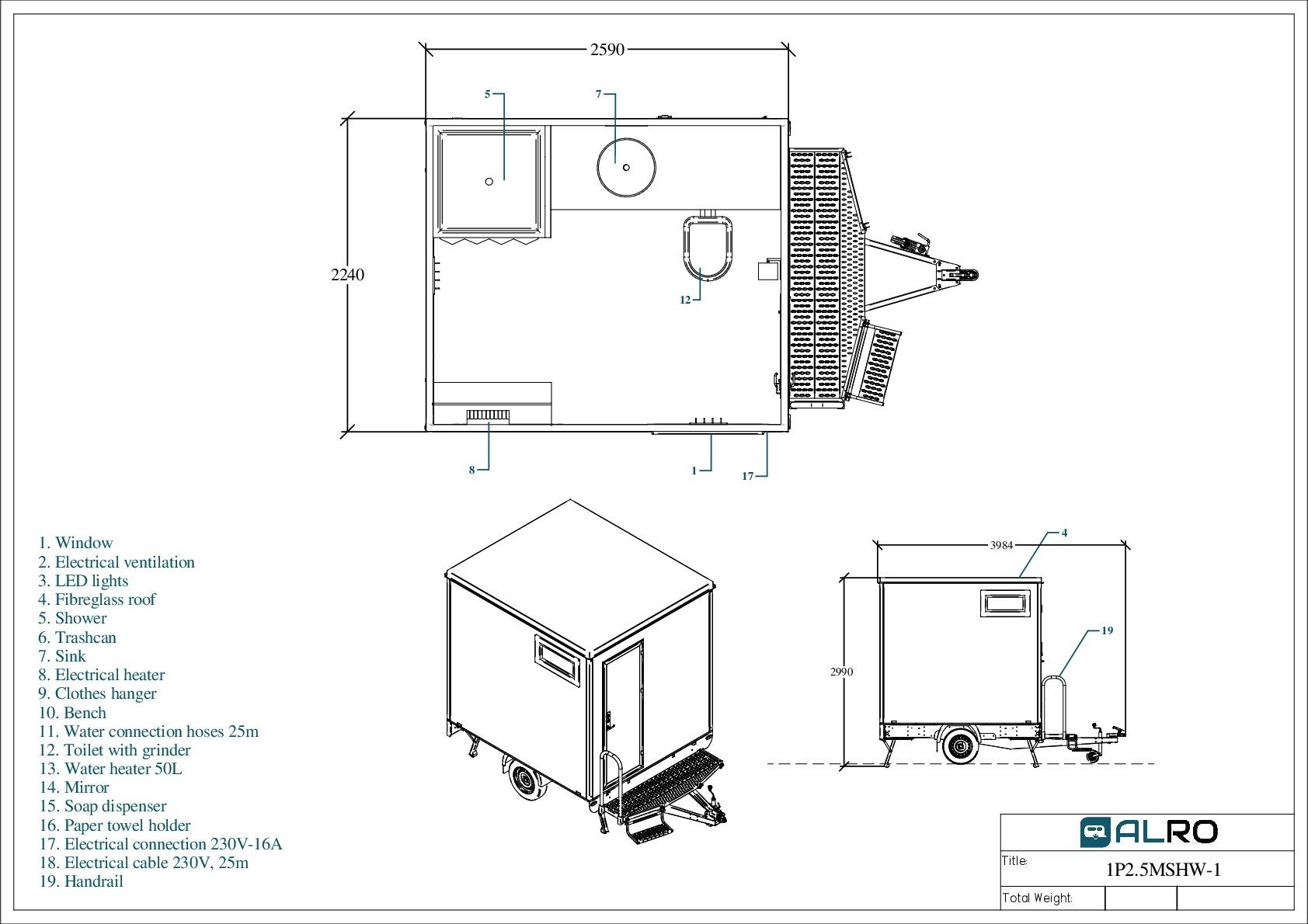 WC- ja dušihaagis 1P2.5MSHW-1
