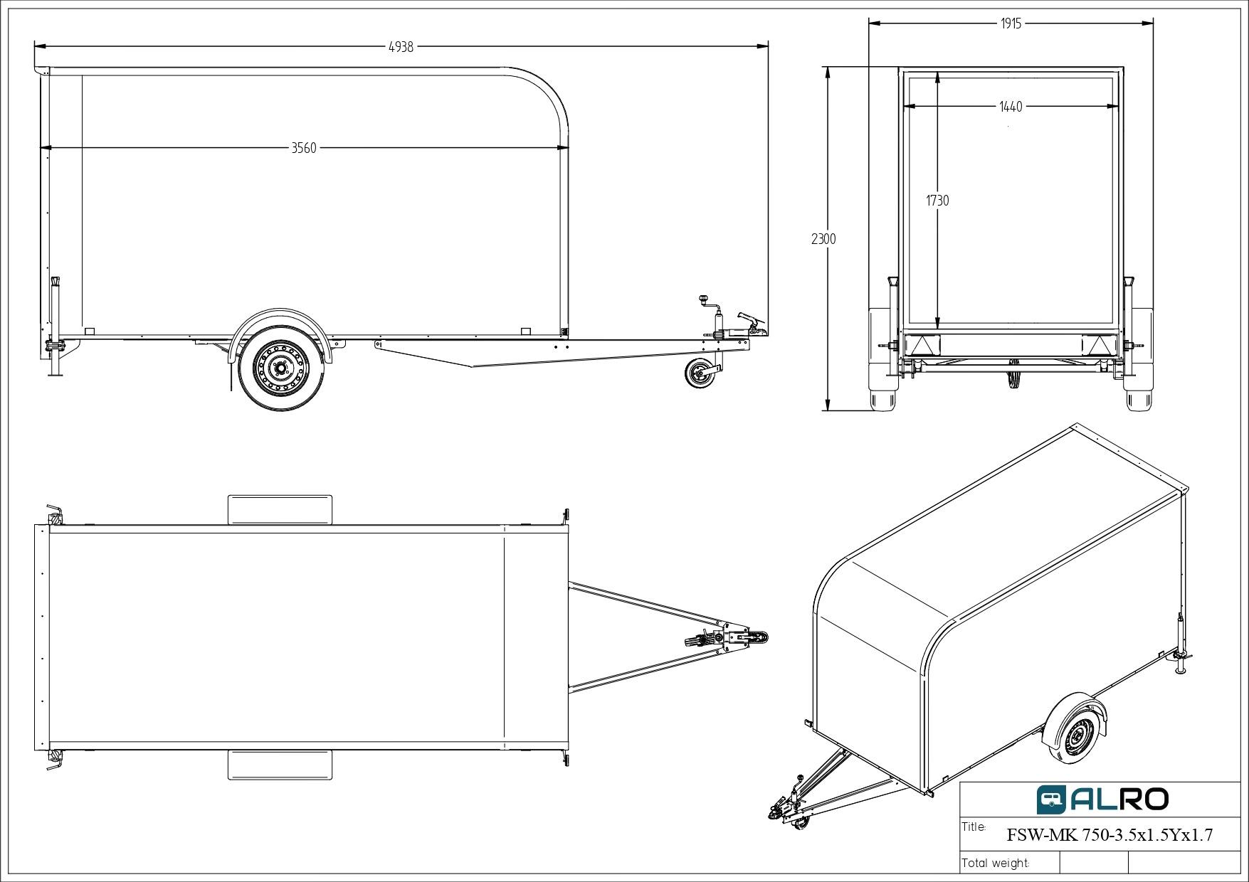 Van trailer FSW-MK 750 3,5 × 1,5 AK × 1,7