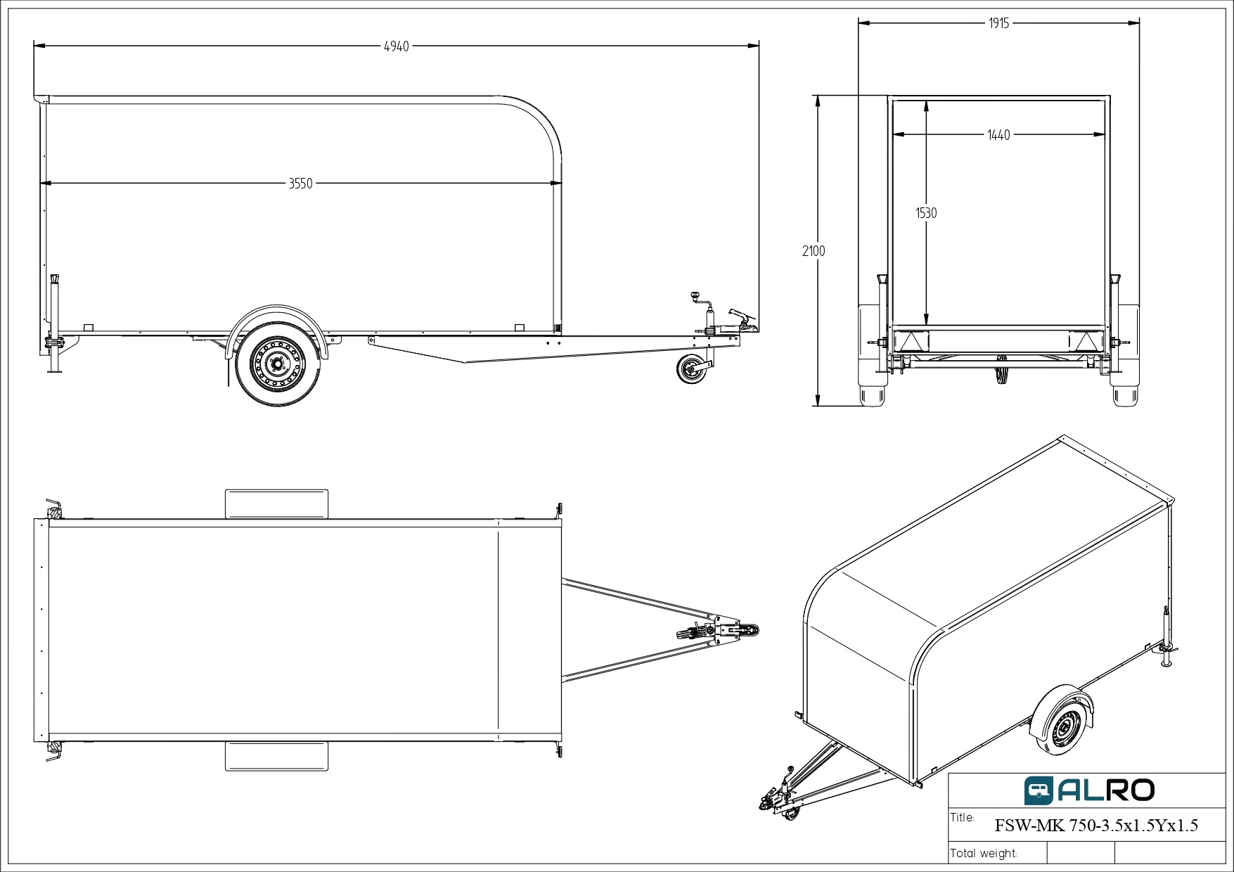 Furgoonhaagis FSW-MK 750KG 3,5 × 1,5 Y × 1,5