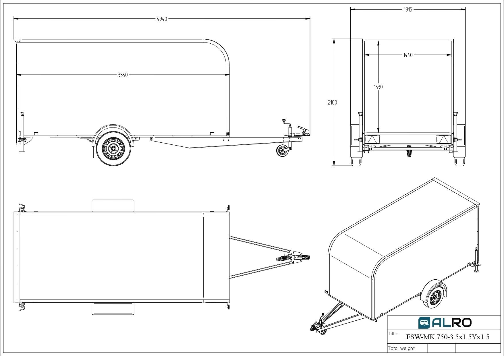 Closed van trailer FSW-MK 750 3,5 × 1,5 AK × 1,5