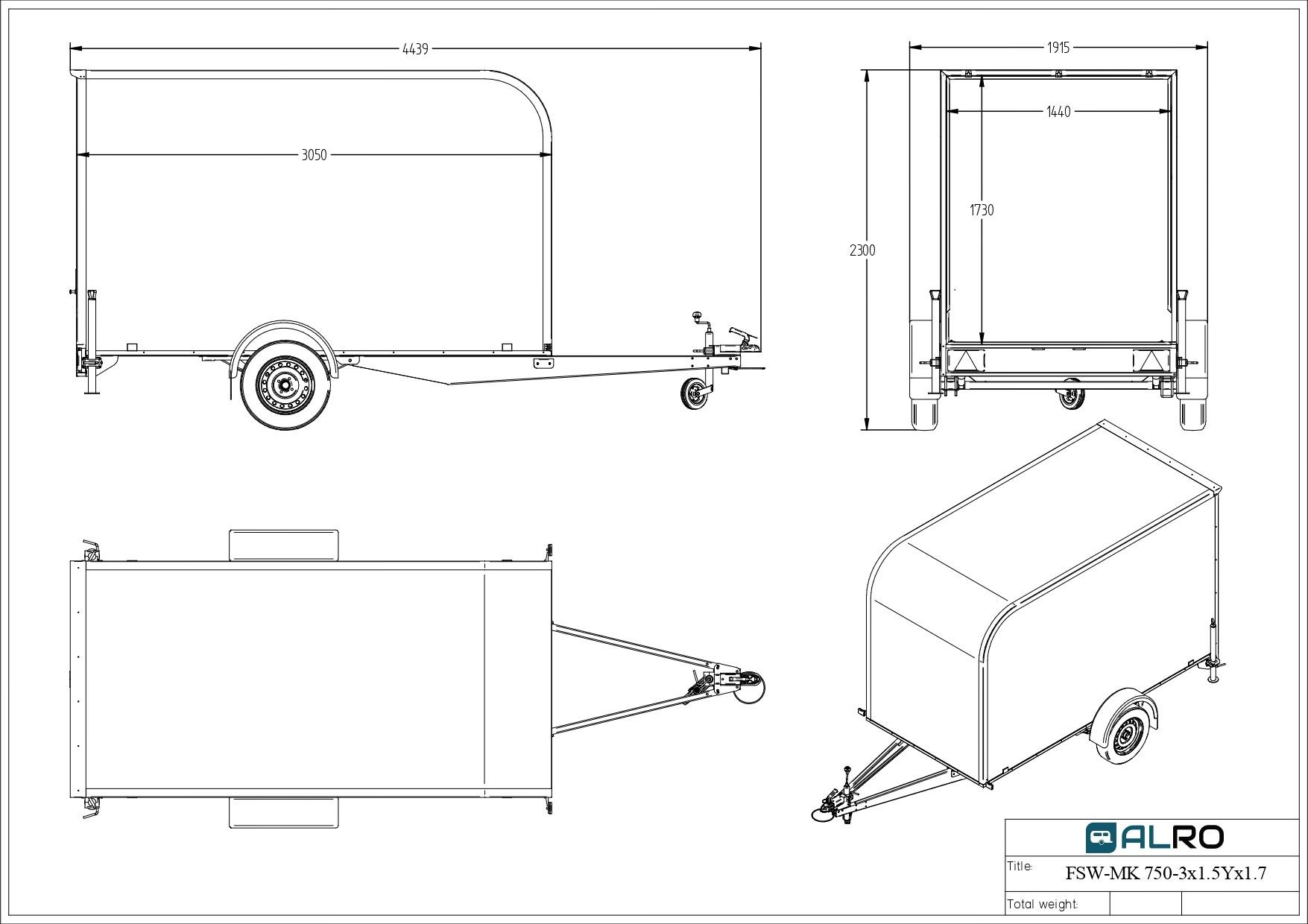 Furgoonhaagis FSW-MK 750KG 3 × 1,5 Y × 1,7